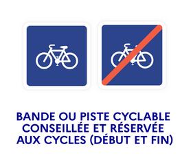 panneau piste cyclable conseillée