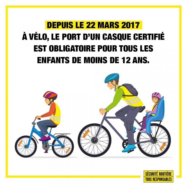 depuis le 22 mars 2017, le port du casque est obligatoire pour les enfants de moins de 12 ans