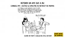 Bande dessinée d'un conseil pour retenir un ami qui a bu